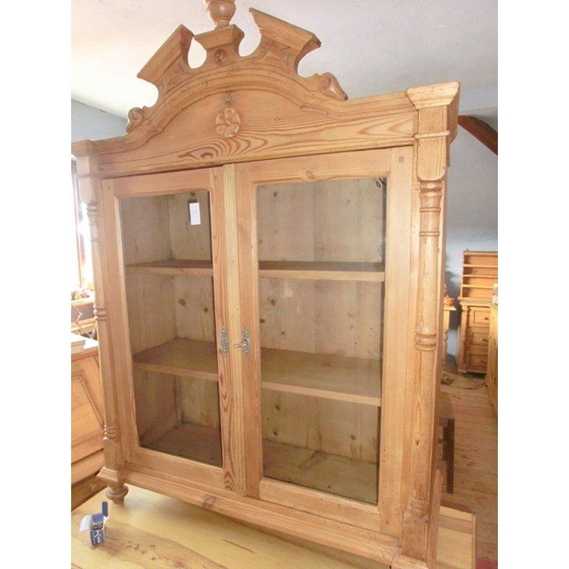 Vitrine schrank aufsatz gr nderzeit weichholz antik for Schrank vitrine